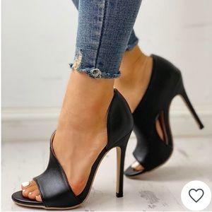 Shoes - Cutout Peep Toe Heels